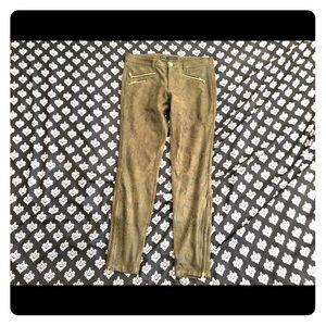 ZARA Green Snake Leather Pants With Zippers